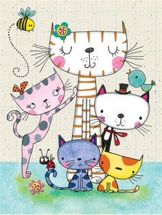 PK104 Cats - Packs of 5 - Rachel Ellen Designs – Card and Stationery Designers and Publishers