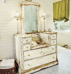 Darling white dresser...so shabby.
