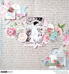 """""""Beautiful"""" Shabby Chic Layout by Donna Espiritu Design Team member for Kaisercraft Official Blog Featuring October 2017 Rose Avenue Collection. ~ Wendy Schultz - Shabby Chic Pages."""