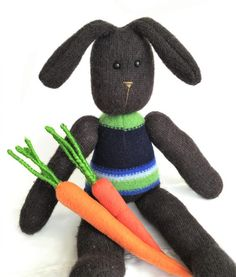 sweater bunny and upcycled sweater carrots