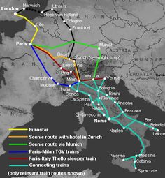 How to travel by train from London to Italy (Venice Florence Rome & other cities). Train Route, Train Travel, European Vacation, Italy Vacation, European Travel, Italy Travel, Italy Trip, Vacation Days, The Journey