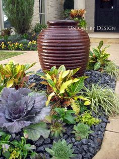 Container gardening and Pot Ideas, be inspired by this gardening pin article reference 8925408004 to creating our favorite plants in a container. Unique Gardens, Beautiful Gardens, Beautiful Flowers, Front Yard Landscaping, Backyard Landscaping, Landscaping Ideas, Outdoor Pots, Outdoor Gardens, Water Garden