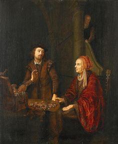 Abraham de Pape: Interieur met een man en vrouw bij een tafel met geld en kostbaarheden. Tussen 1635 - 1666. Kunsthandelaar Duitsland. Voorheen toegeschreven aan Gerrit Dou.