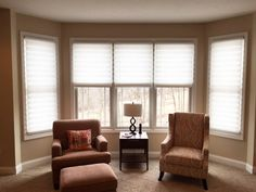 Solera shades are a beautiful finish the windows in this living room.