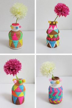DIY: Painted mini vases made with PET bottles and paper twine- diy flesjes Fun Crafts, Diy And Crafts, Crafts For Kids, Arts And Crafts, Kids Diy, Decor Crafts, Craft Tutorials, Craft Projects, Craft Ideas