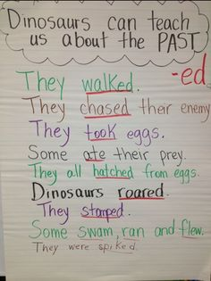 dinosaurs teach us about past tense verb chart