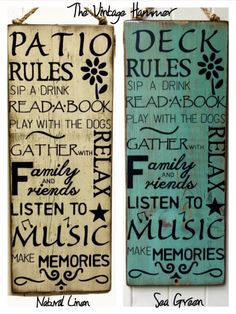 A personal favorite from my Etsy shop https://www.etsy.com/listing/190631195/large-deck-rules-sign-hand-painted-sign