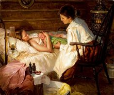 """""""THE MIDWIFE"""" by Loren Entz There is so much attention to detail here.  Kettle of hot water on the floor by the stove, basin with cloths at her feet.  The expression on the midwife's face is so sweet, her hands still caressing the newborn.  http://iamachild.files.wordpress.com/2010/02/the-midwife.jpg"""
