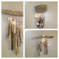 driftwood wind chimes -- ideas for arrangements... need more driftwood. collect it for me guys!
