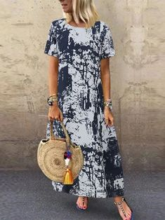 Plus Dresses, Casual Dresses For Women, Elegant Dresses, Maxi Dress With Sleeves, Short Sleeve Dresses, Womens Swing Dress, Tie Dye Outfits, Maxi Robes, Floral Print Maxi Dress