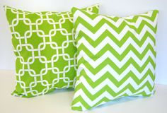 Decorative pillow covers set of two 16 x 16 chartreuse green chevron stripe and green geometric 3100 via Etsy Throw Cushions, Throw Pillow Sets, Fluffy Cushions, Couch Pillows, Decorative Cushions, Decorative Pillow Covers, Green Chevron, Bedroom Green, My New Room