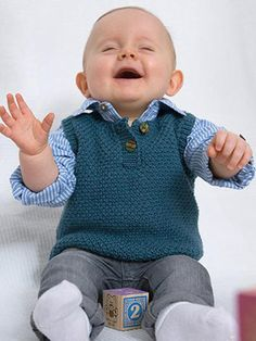 WHISKERS VEST from Special Knits For Babies – Martin Storey. Follow up collection to Easy Knits For Babies, featuring 12 more designs for babies from new born to 18 months old. This time with simplified textured and fairisle patterns with a modern twist. Designs range from slipovers, sweaters, cardigans and jackets and a pretty dress and cute accessories | English Yarns