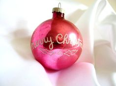 Vintage Large Hot Pink Shiny Brite Christmas Holiday Ornament with Holly