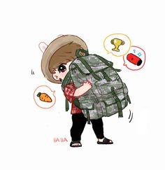 Did you see my bag! Did see my bag! Jungkook Fanart, Jungkook Cute, Kpop Fanart, Bts Chibi, Anime Chibi, Fan Art, Bts Anime, Kpop Drawings, Bts Fans