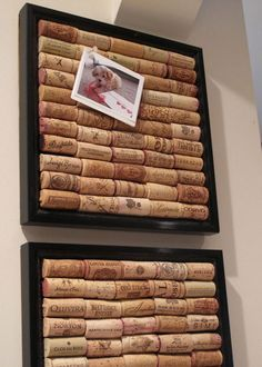 Wine corks diy - a cool board to display photos or holiday cards