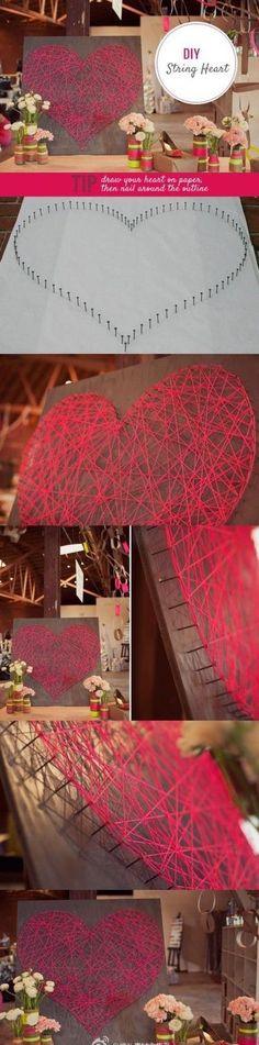 12 Easy DIY String Art Ideas to Hang in Your Home DIY Projects & Creative Crafts – How To Make Everything Homemade - DIY Projects & Creative Crafts – How To Make Everything Homemade Cute Crafts, Crafts To Do, Arts And Crafts, Diy Crafts, Simple Crafts, Simple Diy, Teen Diy, Diy For Teens, Kids Diy