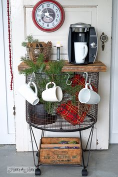 Funky Junk pick / vintage cart turned coffee station Vintage cart coffee station / potato bin / beverage station for Christmas on FunkyJunkInterior… Coffee Bar Station, Coffee Stations, Potato Bin, Dyi, Hot Cocoa Bar, Funky Junk Interiors, Piece A Vivre, All Things Christmas, Christmas Christmas
