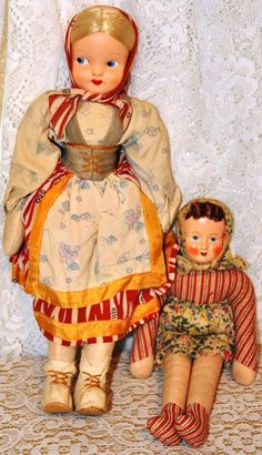 Vintage 1940s dolls from Poland via Etsy