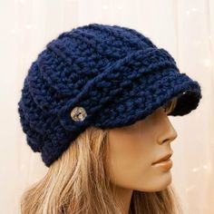 Crochet Newsboy Hat - Navy Blue - For Women - Made to Order