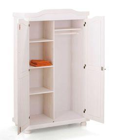 Kledingkast Bastian 2 deuren - wit | Emob Design Wood, Tall Cabinet Storage, Locker Storage, Armoire D'angle, 2 Door Wardrobe, Rattan Basket, Home Additions, Cozy Blankets, Common Area
