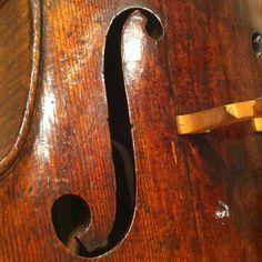 Bass side F hole, Stradivarius cello c. 1730