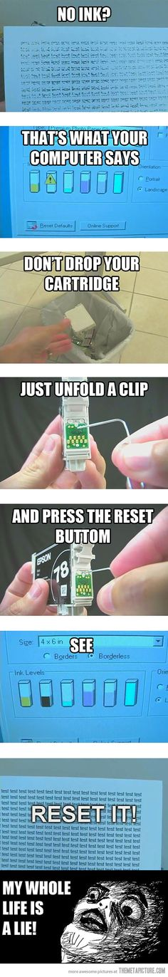 Reset ink cartridges.