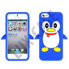 Happy Penguin (Blå) iPhone 5 Deksel