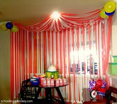Hosting a circus party? Don't forget the big top circus tent! Use this simpl Hosting a circus party? Don't forget the big top circus tent! Use this simpl… , Carnival Themed Party, Carnival Birthday Parties, Birthday Party Themes, Diy Birthday, Office Birthday, 10th Birthday, Birthday Ideas, Cheap Party Decorations, Birthday Decorations