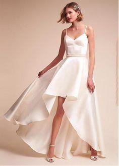 #Dressilyme - #Dressilyme Dressilyme Fashionable Satin Spaghetti Straps Neckline Natural Waistline A-line Hi-lo Wedding Dress With Beadings - AdoreWe.com
