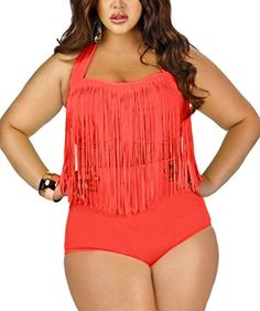 Zerlar Two Piece Plus Size Bikini Set Tassel High Waist Swimsuit Bathing Suits #plussizeswimwear