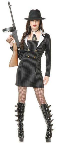 460248aeada Miss Mob Boss Gangster Mafia Girl Fancy Dress Up Halloween Sexy Adult  Costume Mafia