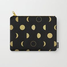 Gold Moon Phases Carry-All Pouch by laurafrere Moon Phases, Graphic, Carry On, Illustration, Zip Around Wallet, Pouch, Style Inspiration, Patterns, Gold