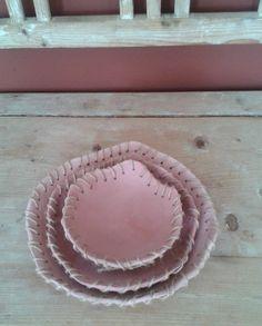 Miska z růžové hlíny talíř keramika růžová miska bytová dekorace
