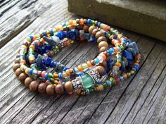 New  Lapis Chip Stretch Stack by Angelof2 on Etsy, $26.00