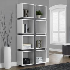 "Monarch 71"" Hollow-Core Bookcase in White and Gray"