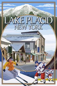 Lake Placid, New York - Montage Scenes - Lantern Press Poster