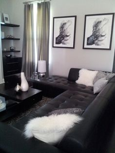 Black Lounge, White fluffy Cushions