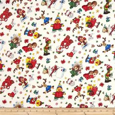 Suzy's Zoo Christmas Character Toss Snow from$9.58 @fabricdotcom  Designed by Suzy Spafford for Hoffman California International Fabrics, this cotton print is perfect for quilting, apparel and home decor accents.  Colors include white, black, red, green, blue, brown, yellow and tan.
