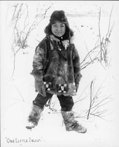 Athapascan boy poses in snow, Alaska, ca 1901 :: American Indians of the Pacific Northwest -- Image Portion