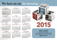 Eye For Investing Postcard Calendar PC9811 - sharpercards.com/finance #financal #insurance #marketing