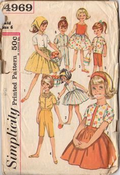 Vintage 1960s Girls Size 6 Dress Blouse and Pants Simplicity Sewing Pattern 4969