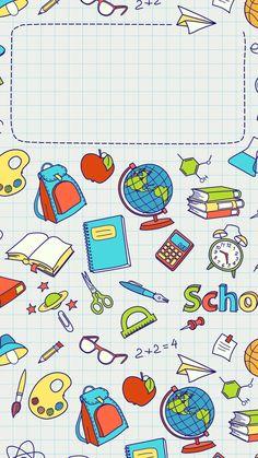 cover - Back to School Cute Wallpapers, Wallpaper Backgrounds, Iphone Wallpaper, Back To School Wallpaper, Teacher Wallpaper, Bg Design, Kids Background, School Frame, Printable Scrapbook Paper