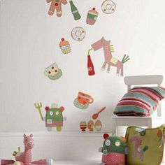 Gingerbread Wall Decals - $59.95 - A bright and colourful range full of quirky characters.   Each pack contains three sheets totaling 16 sticker designs Easily attach to most wall surfaces and can be removed at anytime without leaving a mark #sweetcreations #kids #boys #bedroom #nursery #decor #walldecal #Gingerbread