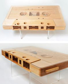 Loving on this wooden cassette tape table!