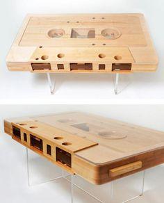 Loving on this wooden cassette tape table!