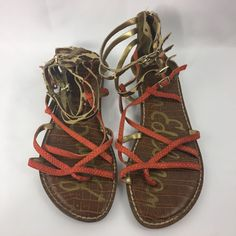 Sam Edelman Gable Thong Gladiator Ankle Multi Strap Sandal Shoes Sz 7 M Orange #SamEdelman #Gladiator #Casual