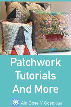 DIY Patchwork - Cojin Con Aplicaciones Tutorial Patchwork, Straw Bag, Diy, Bags, Patch Quilt, Lightbox, Patchwork Cushion, Cotton Canvas, Cases