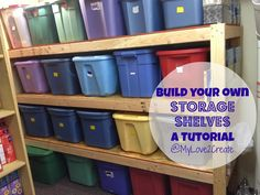 A DIY storage shelf built for only $60, seems pretty easy too. I would love this for all the totes of kids clothes!