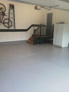 Finished garage floor painted Garage Attic, Garage Gym, Garage Floor Paint, Garage Flooring, Finished Garage, Garage Remodel, Garage Makeover, Painted Floors, Garages
