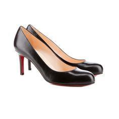 Low Heel Round Toe Black Leather Pumps